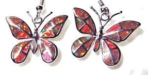 """Silver 925 SF Hook Earrings Orange Lab Fire Opal BUTTERFLY 1 1/2"""" Drop"""