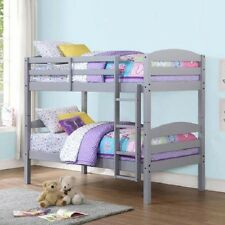 Twin Over Twin Bunk Beds Convertible Bedroom Furniture Kids Dorm Bed Ladder Gray