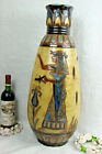XL ART DECO Belgian CERAMIC Vase Signed DUBOIS Egypt god bird theme