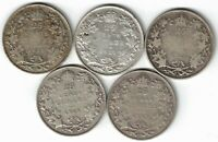 5 X CANADA TWENTY FIVE CENTS QUARTERS KING GEORGE V 800 SILVER COINS 1920 - 1929