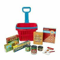 MELISSA AND DOUG FILL AND ROLL GROCERY SHOPPING BASKET WITH PLAY FOOD ITEMS.