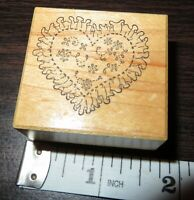 Vintage INTRICATE HEART SHAPE LACE SYMBOL PSX C-038 Wood Rubber Stamp 1988