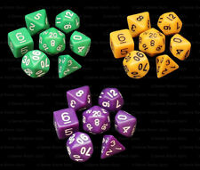 3 New Sets of 7 Polyhedral Dice - Green Yellow & Purple Opaque - 3 Dice Bags Rpg