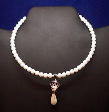 Vintage Faux Pearl Choker w/ Rhinestone Pearl Drop Pendant - 1980's