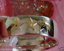 Tiffany Slvr/18K 3 Star Diamond, Sapphire, Ruby Bangle Bracelet Tiffany Restored