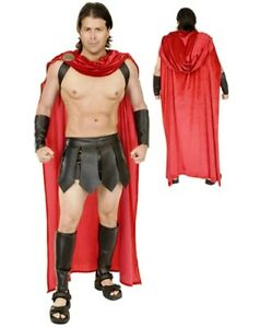 ADULT MENS SPARTAN WARRIOR 300 ROMAN GREEK GLADIATOR COSTUME WITH CAPE GUARD RED