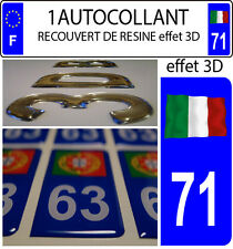 1 sticker plaque immatriculation auto DOMING 3D RESINE DRAPEAU ITALIE FLOTANT 71