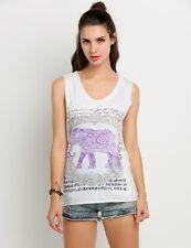 Womens V Neck Sleeveless Top Purple Elephant Indian Graphic Print White Tank