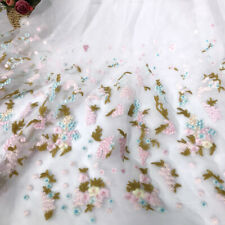 1 Yard Ivory Organza Colorful Flower Embroidered Lace Fabric For Dresses DIY