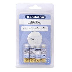 Beadalon Crimp Bead Variety Pack, Mixed Sizes (Sizes 1 to 4) Gold Colour