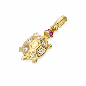 Real 375 9ct Gold & CZ Crystal Turtle Charm Animals Pets Charms