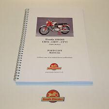 Honda 250 305 Parts List Book Manual 1960s CB72 CB77 CP77, Reproduction. HPL016