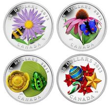 Canada $20 Venetian Glass Silver Coins Bumblebee Butterfly Frog plus Candy Cane
