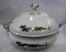 "Meissen 'Green Dragon' with Gold Accents Soup Tureen 15 1/2 x 10""- REDUCED PRICE"