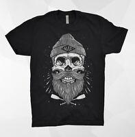 Kult T Shirt Skeleton Skull Beard Barber Sailor Death Bones Rock Metal Punisher