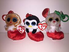 TY SET OF 3-EARMUFFS, JINGLY & BUNDLES CHRISTMAS BEANIES CLIPS*IN HAND*SHIPS NOW