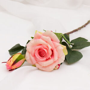Real Touch Red Artificial Silk Fake Flower Pink Peony Rose Wedding Bouquet Home