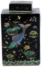 TEA JAR VASE FISH SQUARE BLACK COLORS MAY VARY VARYING PORCELAIN CERAMIC