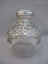 A superb Large Scent/Perfume Bottle - Glass & Sterling Silver - 1900 Victorian