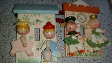 2 Vintage Nursery Light switch plate cover Fairy tale Castle Irmi Design 1960'S