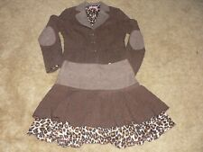 View Collection Suit Brown Tweed Jacket/Skirt With Layered Accents Size 10