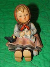 Hummel Goebel 1983 Little Girl knitting sing with black bird #69