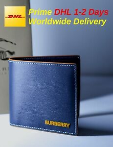 Burberry Topstitched Grainy Leather International Bifold Wallet RRP 360$
