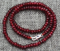 New 2x4mm Faceted-Red-Garnet-Ruby-Handmade-Gemstone-Necklace 18''