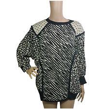 Lee Bird Womens Jumper Size 14 Black Gold Long Sleeve Animal Print Vintage