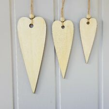 Set of 3 large Danish wooden hearts Nordic Christmas decorations craft