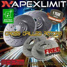 Front+Rear Cross Drilled Rotors for 2003-06 Mercedes Benz E500 RWD W/O Sport Pkg