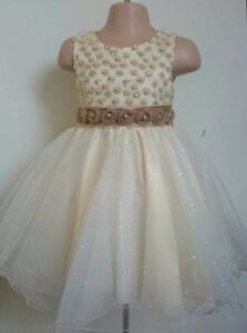 Gold Christening Flower Girl Bridesmaid Pageant Prom Diamante Party Dress 0-24m