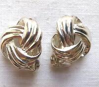 Small Vintage Silver Tone Love Knot Clip Earrings 3/4""