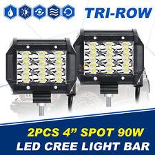 """2PCS 4"""" Tri-Row 90W CREE Led Work Light Bar Spot Offroad Truck 4WD Driving vs 7"""""""