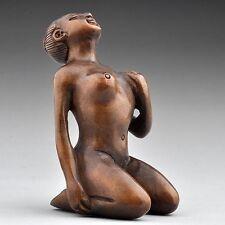"1940's Japanese handmade Boxwood Netsuke ""Nude Naked Lady"" Figurine Carving"