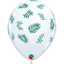 "White Tropical Leaves 11"" Latex Balloons 25pk Pattern Qualatex Green Leaf Theme"