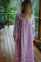 Vintage bird print 70s dress pink long sleeve cotton women's size as required