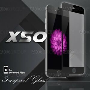 """50x Black Full Cover Tempered Glass Screen Protector For IPhone 6S 6 Plus 5.5"""""""