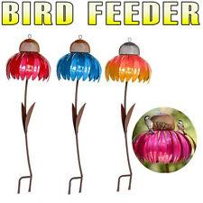 Bird Feeder Metal Flower Stakes Coneflower Bird Seed Tray for Yard Garden Decor