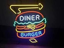 """New Diner Burger Open Beer Light Lamp Neon Sign 20""""x16"""""""