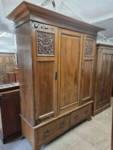 Arts And Crafts Antique Double Wardrobe