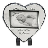 Personalised Happy Father's Day Rock Slate - Heart - Marble Design