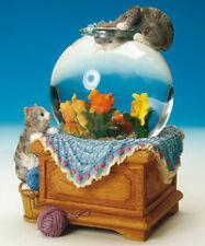 Schneekugel Glitzerkugel Aquarium mit Katze und Fischen NEU OVP