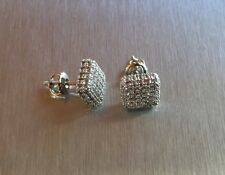 Mens Ladies 18K W Gold Finish 0.5 ct. Lab Diamond Iced Screw Back Earrings 8mm