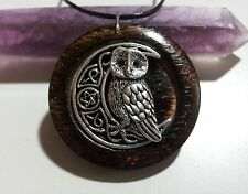 Owl and Pentacle Moon Pendant in Burnt Oak, Owl Moon jewelry, Owl Totem Necklace