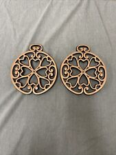 Set 2 Pampered Chef Round Up From The Heart Copper & Cast Iron Trivets FS Chrty