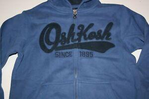 New OshKosh Boys 10 year Navy Blue Logo Blue Hoodie Full Zip Up Sweatshirt Top