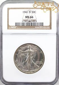 ~1941 D NGC MS 66 Walking Liberty Half Dollar 50C Mint State Fifty Cents (M141)~