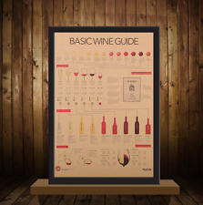 Retro Wine Guide Chart Art Print Poster 51x36cm Wall Decor Home Kitchen