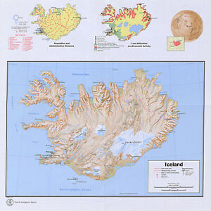 """1973 CIA Map of Iceland Population Economics Political 11""""x11"""" Wall Art Poster"""